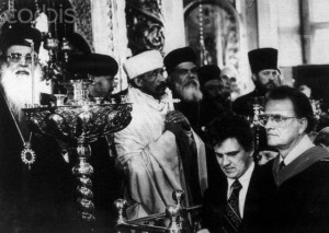 Billy Graham Standing With Russian Orthodox Clergy